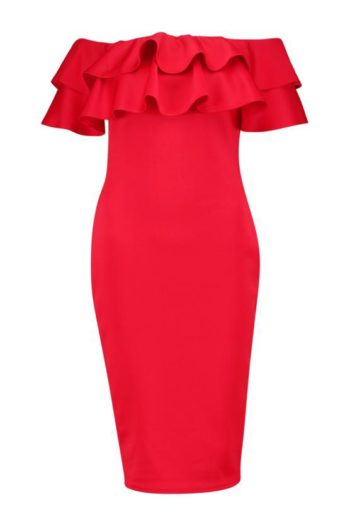 Layered-Frill-Midi-Dress-Red-2