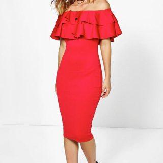 Layered-Frill-Midi-Dress-Red