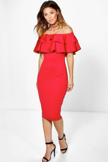 Layered-Frill-Midi-Dress-Red