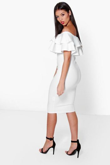 Layered-Frill-Midi-Dress-White