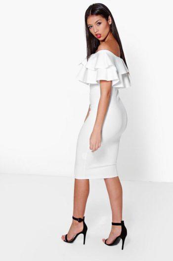 Layered-Frill-Midi-Dress-White
