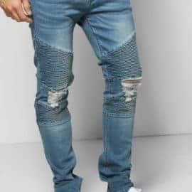 Mid Blue Biker Detail Skinny Fit Jeans | Norliden