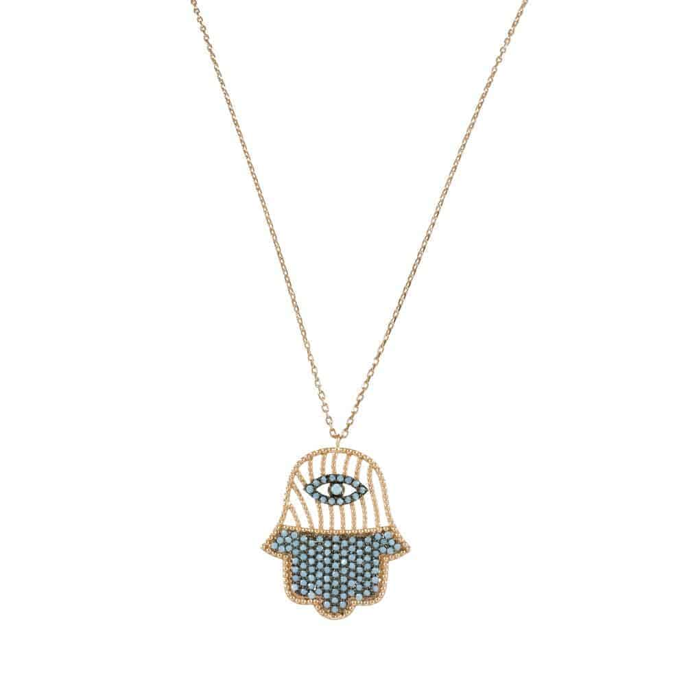 A Turquoise & Sterling Silver Rose Gold Tone Hamsa2 | Nackder