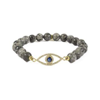 Beaded Bracelet with Gold-Tone Evil Eye Charm | Norliden