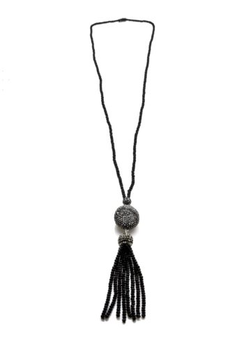 Black Crystal Necklace with Hematite Charm and Crystal Tassel   Norliden