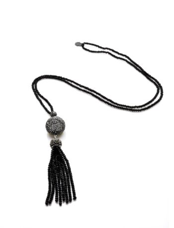 Black Crystal Necklace with Hematite Charm and Crystal Tassel2 | Norliden