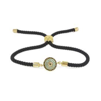 Black Macrame Bracelet With Gold-Tone Circle Evil Eye Charm | Norliden