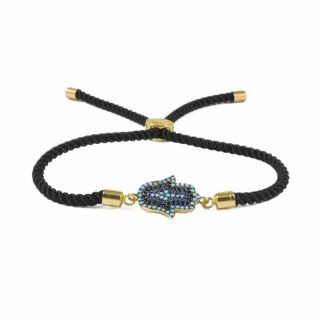 Black Macrame bracelet With Blue Hamsa Charm | Norliden
