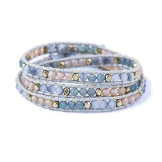 Blue Grey Tan Wrap Bracelet | Norliden