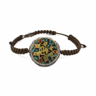 Brown Macrame Bracelet With Tibetan Teal Ohm Coin | Norliden
