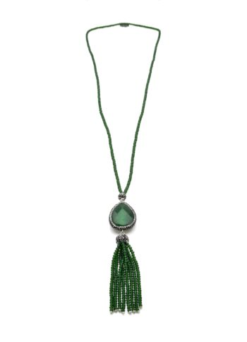 Green Crystal Necklace with Crystal Tassel | Norliden