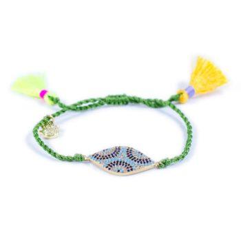 Green Macrame Bracelet With Coin | Norliden