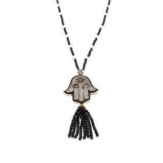 Hamsa Hematite Necklace with Black Crystal Tassel Hamsa | Norliden