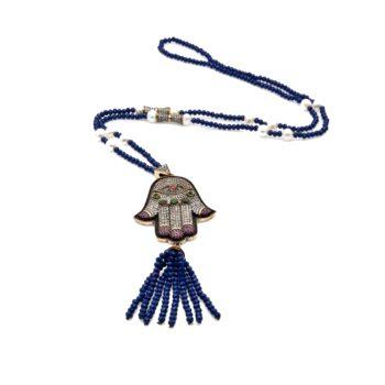 Hamsa Hematite Necklace with Blue Crystal Tassel | Norliden