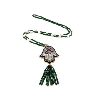 Hamsa Hematite Necklace with Green Crystal Tassel | Norliden