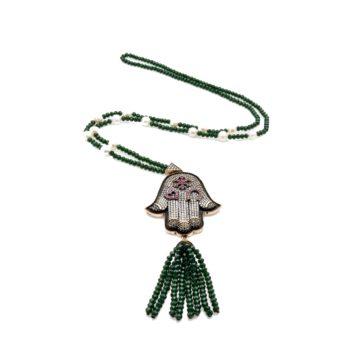 Hamsa Hematite Necklace with Green Crystal Tassel | Norliden