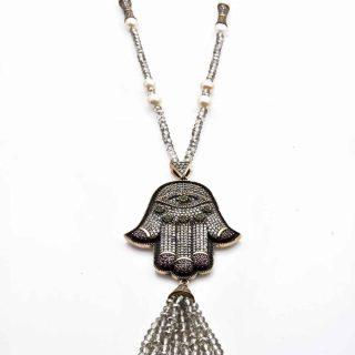 Hamsa Hematite Necklace with Silver Crystal Tassel | Norliden