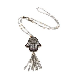 Hamsa Hematite Necklace with Silver Crystal Tassel2   Norliden
