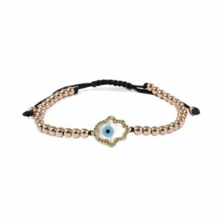 Hematite Bracelet With Rose Gold-Tone and Pearl Hamsa Charm | Norliden