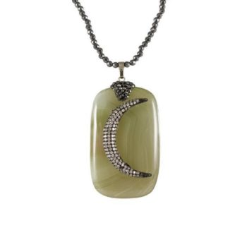 Hematite Necklace with Moon on Squared Jade Stone   Norliden