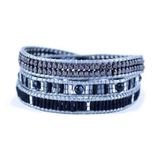 Hematite Wrap Bracelet With Grey Black and Silver Beads | Norliden