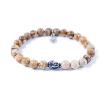 Jasper Bracelet with Silver Tone Buddha | Norliden