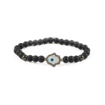 Onyx Bracelet With Gunmetal-Tone and Hamsa Charm | Norliden