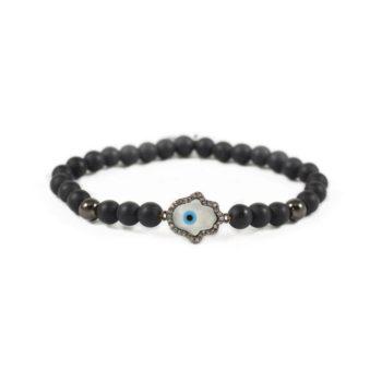 Onyx Bracelet With Gunmetal-Tone and Hamsa Charm | Norliden