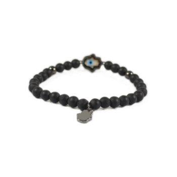Onyx Bracelet With Gunmetal-Tone and Hamsa Charm2   Norliden