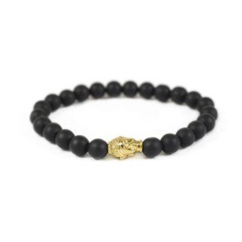 Onyx Bracelet with Gold Tone Buddha Charm | Norliden