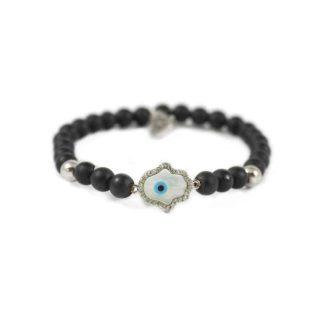 Onyx Bracelet with Silver Tone Pearl Hamsa Charm | Norliden