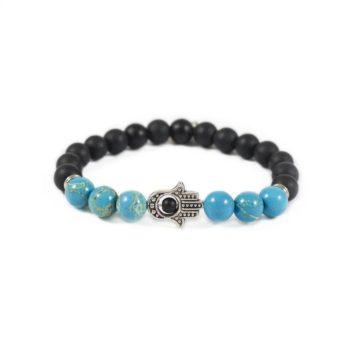 Onyx Bracelet with Turquoise and Black Hamsa Charm | Norliden