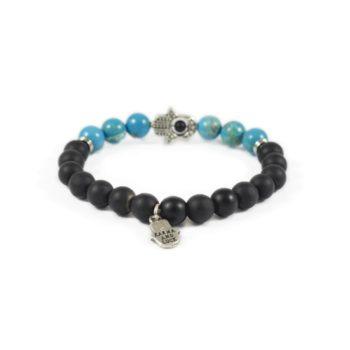 Onyx Bracelet with Turquoise and Black Hamsa Charm2 | Norliden