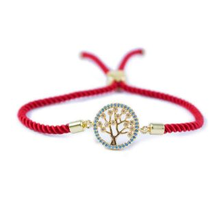 Red Macrame Bracelet With Gold-Tone Tree of Life Charm | Norliden