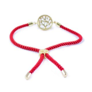 Red Macrame Bracelet With Gold-Tone Tree of Life Charm2 | Norliden