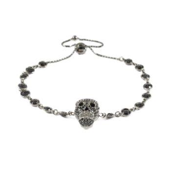 Sterling Silver Bracelet With Black Crystal Skull | Norliden