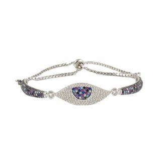 Sterling Silver Bracelet With CZ Evil Eye Rainbow | Norliden