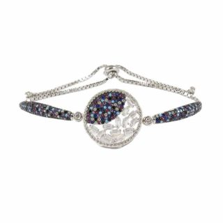 Sterling Silver Bracelet With CZ Karma Circle Rainbow | Norliden
