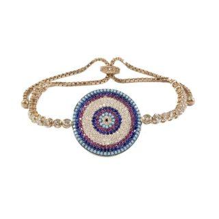 Sterling Silver Bracelet With Large CZ Rose Gold-Tone Evil Eye | Norliden