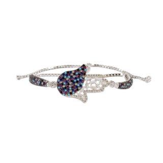 Sterling Silver Bracelet with CZ Hamsa Rainbow | Norliden