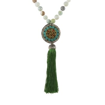 Stone Mala Necklace with Jasper with Coin and Tassel | Norliden