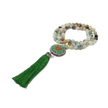 Stone Mala Necklace with Jasper with Coin and Tassel2 | Norliden
