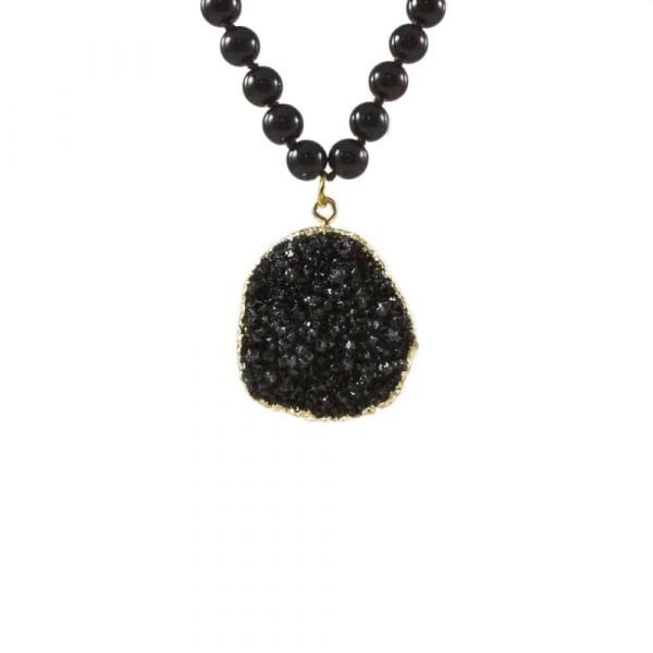 Stone Mala with Onyx and Druzy Gold Trim2 | Norliden