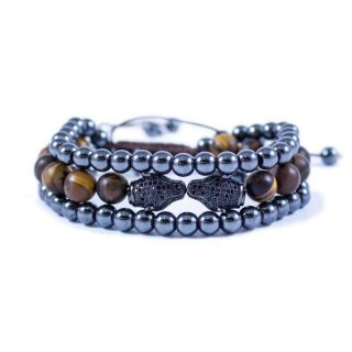 Three Line Bracelet with Hematite and Tiger Eye with Double Puma | Norliden