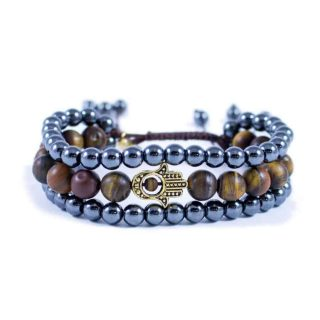 Three Line Bracelet with Hematite and Tiger Eye with Gold Tone Hamsa | Norliden