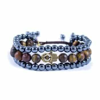 Three Line Bracelet with Hematite and Tiger Eye with Gold Tone Hamsa | Norliden