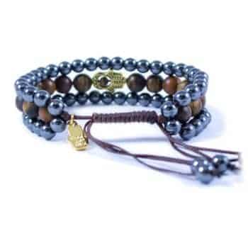 Three Line Bracelet with Hematite and Tiger Eye with Gold Tone Hamsa2 | Norliden