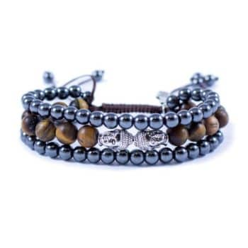 Three Line Bracelet with Hematite with Tiger Eye and Double Silver Buddha | Norliden