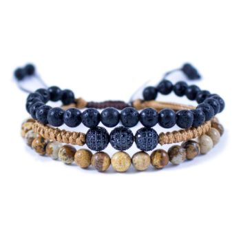 Three Line Bracelet with Lava, Jasper stones and Macrame with 3 CZ Balls | Norliden