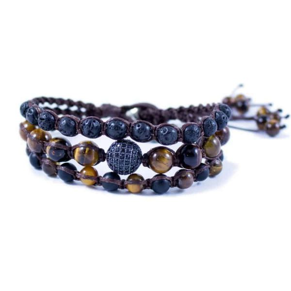 Three Line Bracelet with Lava and Tiger Eye with CZ Ball | Norliden